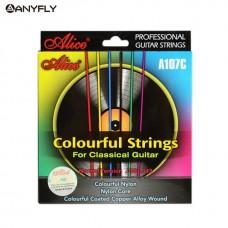 Комплект струн для классической гитары, разноцветный нейлон, медь, Alice A107C