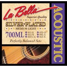 Комплект посеребренных струн для акустической гитары 011-052 La Bella 700ML