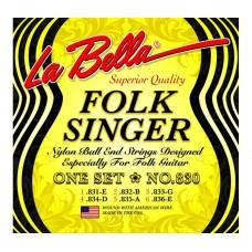 Комплект струн для классической гитары, черный нейлон шарик La Bella