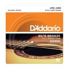 Комплект струн для акустической гитары Extra Light 10-50 D`Addario EZ900 AMERICAN BRONZE 85/15