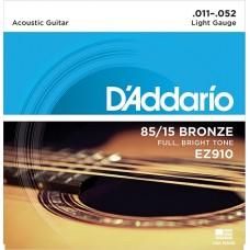 Комплект струн для акустической гитары Light 11-52 D`Addario EZ910 AMERICAN BRONZE 85/15