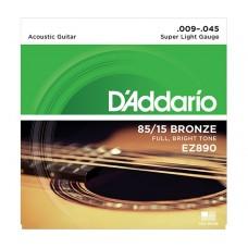 Комплект струн для акустической гитары Super Light 9-45 D`Addario EZ890 AMERICAN BRONZE 85/15