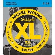 Комплект струн для электрогитары 9-46 D`Addario EXL125 XL NICKEL WOUND