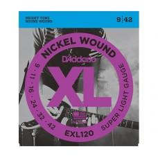 Комплект струн для электрогитары Super Light 9-42 D`Addario EXL120 XL NICKEL WOUND
