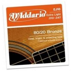 Комплект струн для акустической гитары бронза Extra Light 10-47 D`Addario EJ10 BRONZE 80/20
